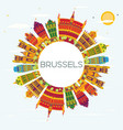 brussels skyline with color buildings blue sky vector image vector image