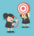 BusinessWoman shooting target with a boweps10 vector image vector image