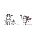 cartoon unicorn and fairy vector image