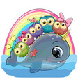 cartoon whale with with horn and five owls vector image vector image