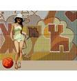 cartoon woman in very short dress on a background vector image vector image