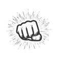 clenched fist gym logo or label vector image