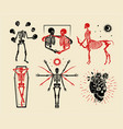 collection skeletons logos for t-shirt vector image vector image