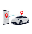 connection car and smartphone search for suv in vector image