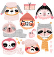 cute sloths in winter clothes childish characters vector image vector image