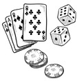 doodle gambling poker cards dice luck vector image