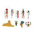 egypt ancient symbols gods and goddess set vector image vector image