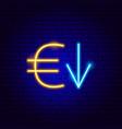 euro down neon sign vector image
