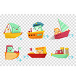 flat set of marine vessels with adorable vector image