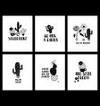 graphic set funny cacti cards and lettering vector image