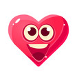 happy and excited emoji pink heart emotional vector image vector image