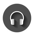 headphone headset icon in flat style headphones vector image