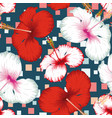 hibiscus seamless multicolor square blue vector image vector image