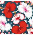hibiscus seamless multicolor square blue vector image