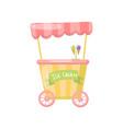 ice cream cart on wheels food kiosk cartoon vector image vector image