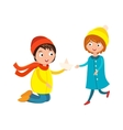 Little boy flower and girl cute children waving vector image vector image