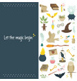 magic banner poster with set magic symbols vector image