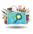magnifying glass on map with world travel landmark vector image