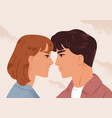 man and woman looking to each other feeling love vector image vector image