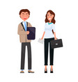 man black folder in hands woman leather handbag vector image vector image