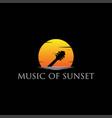 music guitar silhouette sunrise sunset logo design vector image vector image