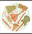 musical instruments round composition in hand vector image