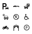 parking icons set vector image vector image