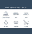 passenger icons vector image vector image