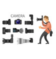 photographer high resolution action cameras lens vector image vector image