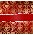 Ragged paper with pattern of hearts vector image vector image