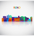 Reno skyline silhouette in colorful geometric