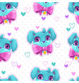 seamless pattern with cute blue young dog faces vector image