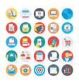 seo and marketing flat circular icons 1 vector image vector image