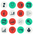 set of 16 authority icons includes personal vector image vector image