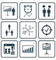 set of 9 authority icons includes company vector image vector image