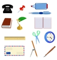 Set of different office objects vector image vector image