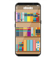 smartphone and book shelf vector image vector image