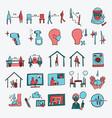 social distancing hand drawn icon line art doodle vector image vector image