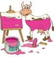spotted cow painted in a pink tin can of paint vector image
