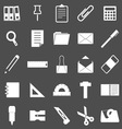 stationary icons on gray background