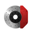 the brake disc and the caliper of the car vector image