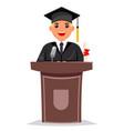 tribune graduate solemn speech character flat vector image