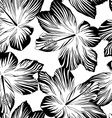 tropical flowers seamless pattern in black and vector image