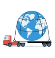 Truck carries the entire planet vector image vector image