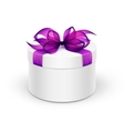 White Round Gift Box with Purple Ribbon and Bow vector image vector image