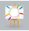 wooden easel and pencil abstract background vector image vector image