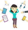 young woman surrounded with her gadgets vector image vector image