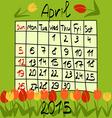 Calendar for April 2015 Cartoon Style Tulips on vector image
