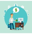 office worker thinking about money vector image