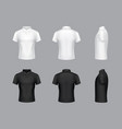 3d realistic white and black polo t-shirts vector image